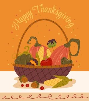 Panier de thanksgiving avec illustration de conception graphique plate vecteur citrouille d'automne