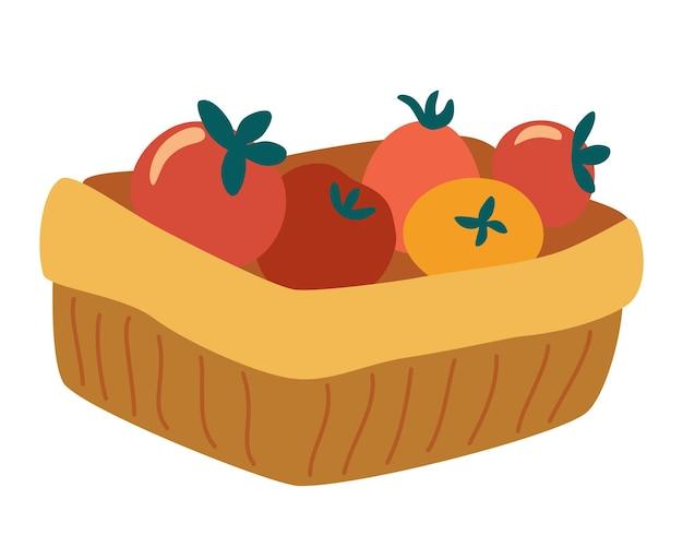 Panier de tomates. marché de la nutrition végétarienne. paquet de livraison de récolte d'aliments sains biologiques.
