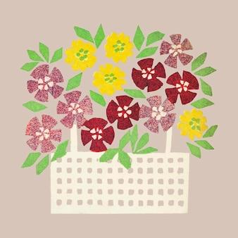 Panier vintage de vecteur de fleurs