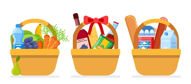 Paniers de nourriture. aliments cadeaux de noël, emballage avec différents repas. packs de pique-nique plats isolés du marché de la ferme ou de l'épicerie. dons ou charité pour les pauvres affamés vector illustration