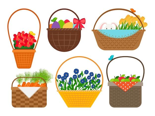 Paniers de pâques avec des fleurs de beauté et vecteur mignon de lapin, d'oeufs et de pommes isolé sur fond blanc