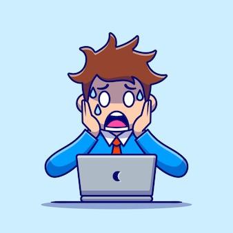 Panique des employés de l'homme avec dessin animé pour ordinateur portable. concept d'icône de technologie de personnes isolé. style de bande dessinée plat