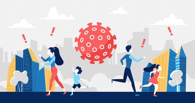 Panique sociale sur la crise du coronavirus, concept de risque