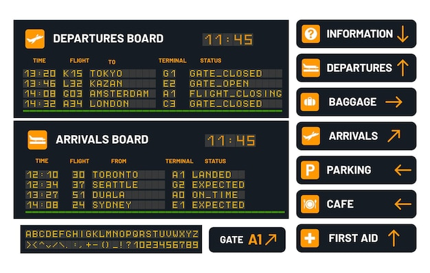 Panneau d'aéroport pour annoncer l'illustration de vol