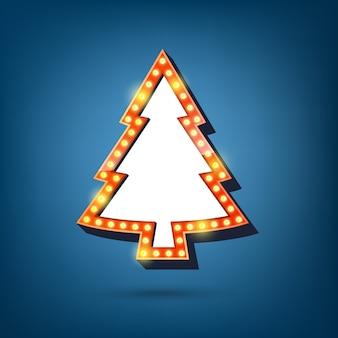 Panneau d'affichage d'ampoules électriques, cadre léger est l'arbre de noël