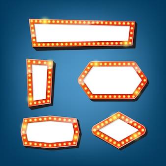 Panneau d'affichage des ampoules électriques. cadres légers rétro. .
