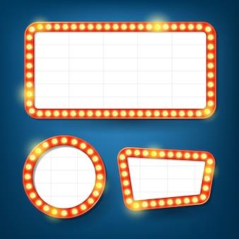 Panneau d'affichage des ampoules électriques. cadres légers rétro.