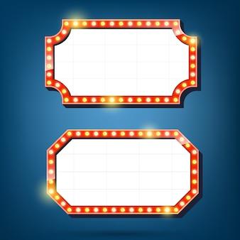 Panneau d'affichage d'ampoules électriques. cadres lumineux rétro. illustration vectorielle