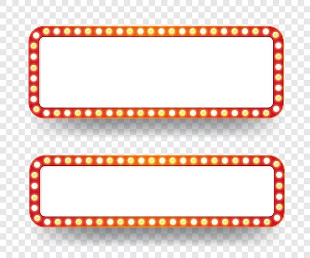 Panneau d'affichage d'ampoules électriques. cadres lumineux rétro vides pour le texte.