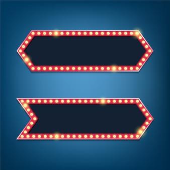 Panneau d'affichage d'ampoules électriques. cadres lumineux rétro.