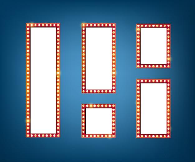Panneau d'affichage d'ampoules électriques. conception verticale de cadres lumineux rétro.