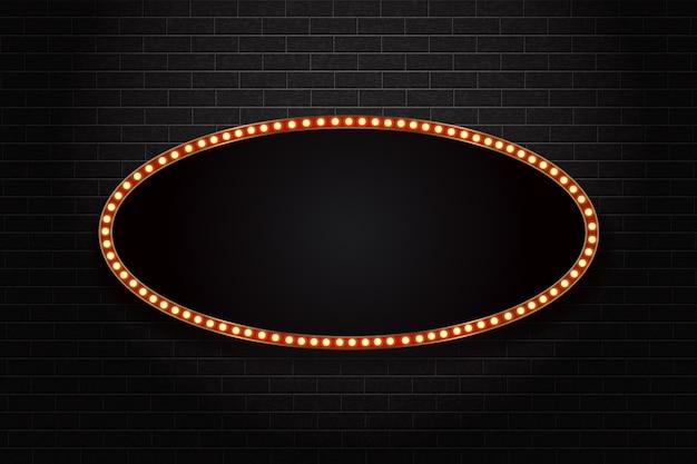 Panneau d'affichage de chapiteau rétro ovale isolé réaliste.