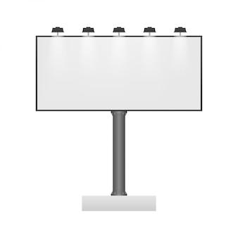 Panneau d'affichage sur fond clair. modèle d'affiche horizontale blanche vide. modèle de marketing. illustration.