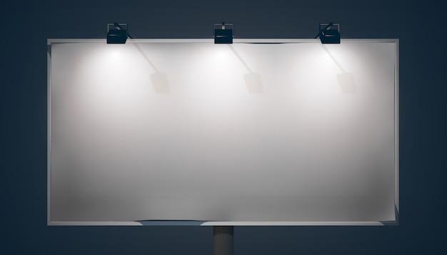 Panneau d'affichage horizontal promo vide avec lampes et cadre métallique sur fond sombre isolé
