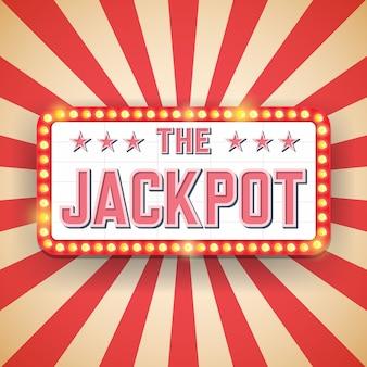 Panneau d'affichage jackpot. ampoules électriques. cadres légers rétro.
