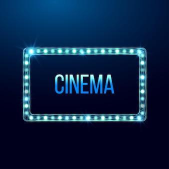 Panneau d'affichage léger de cinéma filaire, style low poly. illustration vectorielle 3d moderne abstraite sur fond bleu foncé.