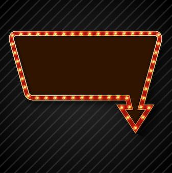 Panneau d'affichage rétro ampoule avec un espace pour le texte