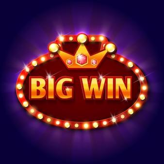 Panneau d'affichage rétro big win avec ampoules