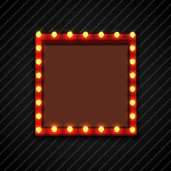 Panneau d'affichage rétro avec des lampes pour le texte de l'espace fond noir
