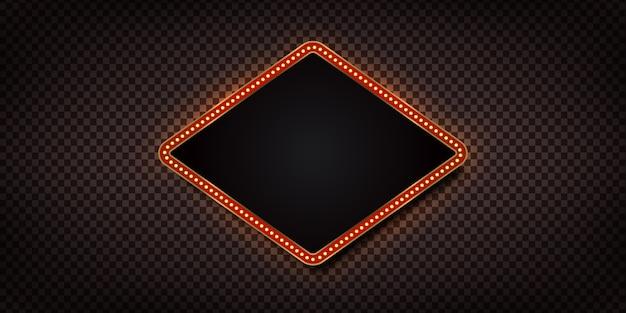 Panneau d'affichage rétro réaliste avec des lampes électriques pour invitation sur le fond transparent. concept de décoration vintage.