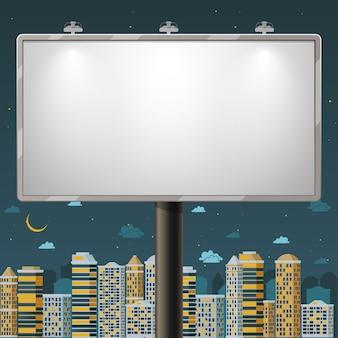 Panneau d'affichage vide pendant la nuit. annoncez une affiche commerciale, extérieure, illustration vectorielle