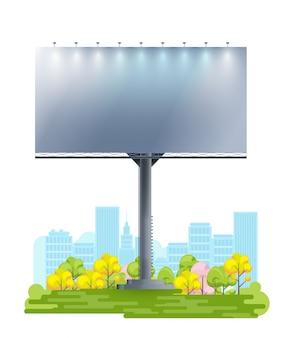 Panneau d'affichage vide sur la ville de dessin animé.