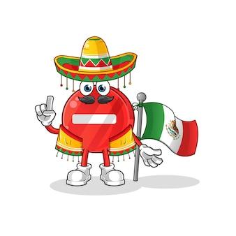 Panneau d'arrêt mexicain avec caractère traditionnel en tissu et drapeau