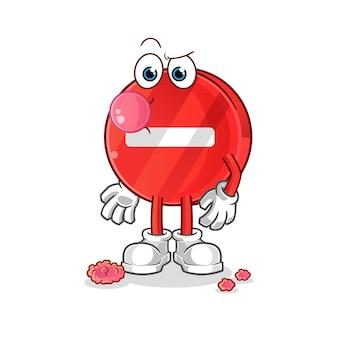 Panneau d'arrêt de personnage de dessin animé de chewing-gum