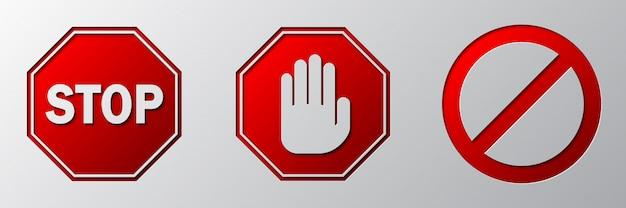 Panneau d'arrêt rouge isolé. signes d'avertissement de vecteur.