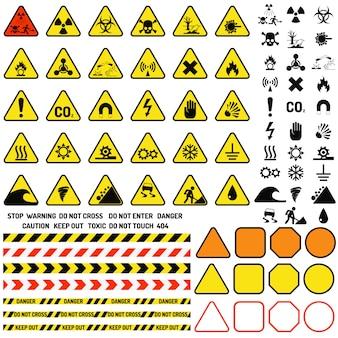 Panneau d'avertissement d'avertissement de danger avec symbole de point d'exclamation et vecteur d'icônes de notification