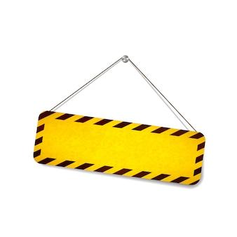 Panneau d'avertissement lumineux grunge accroché à la corde sur blanc