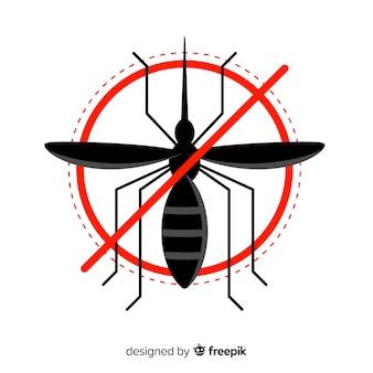 Panneau d'avertissement de moustique avec design plat