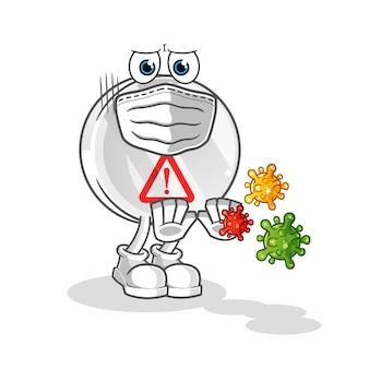Panneau d'avertissement refuser les virus cartoon