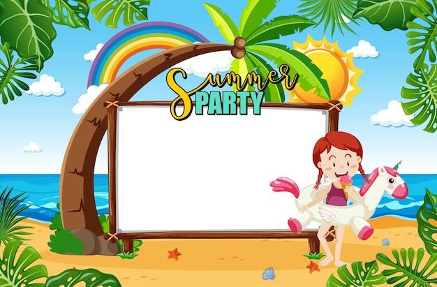 Panneau de bannière vide dans la scène de plage avec personnage de dessin animé