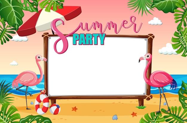 Panneau de bannière vide avec thème de plage tropicale