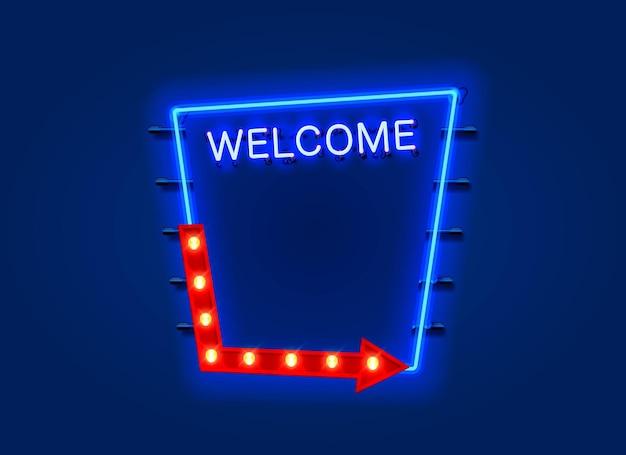 Panneau de bienvenue au néon ouvert sur le mur bleu.