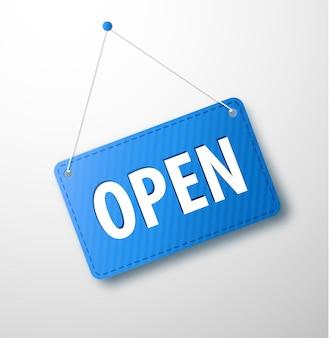 Panneau bleu ouvert avec ombre isolé sur fond transparent. panneau avec une corde.