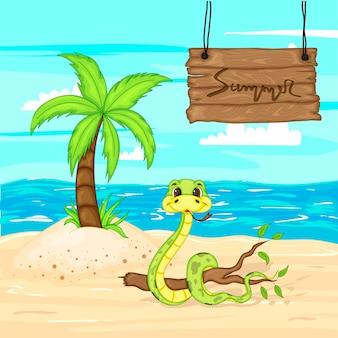 Panneau en bois d'été avec une place pour le texte sur le fond de la mer et le sable.