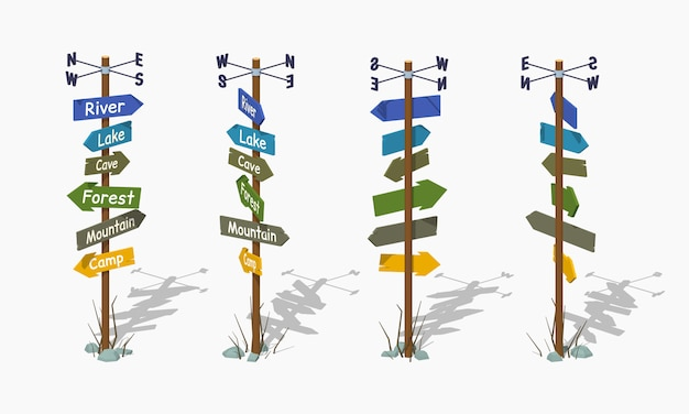 Panneau en bois low poly avec les flèches colorées