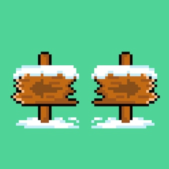 Panneau en bois de neige avec style pixel art