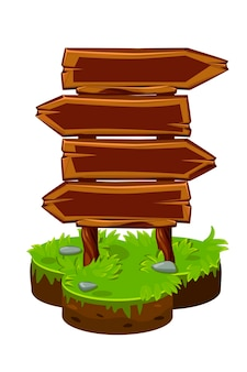 Panneau en bois, panneaux en bois sur l'île isométrique. illustration vectorielle de bannières de pointeurs flèche vierge.