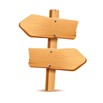 Panneau en bois réaliste. panneau rustique pour la conception du pays. texture bois vintage pointeur vierge. flèche de guidage routier, symbole de l'aventure et de la navigation.