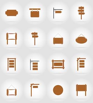 Panneau de bois set illustration vectorielle