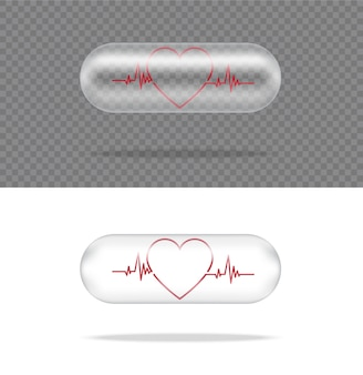 Panneau de capsule de médecine de pilule transparente réaliste avec coeur sur fond blanc. comprimés concept médical et de la santé.