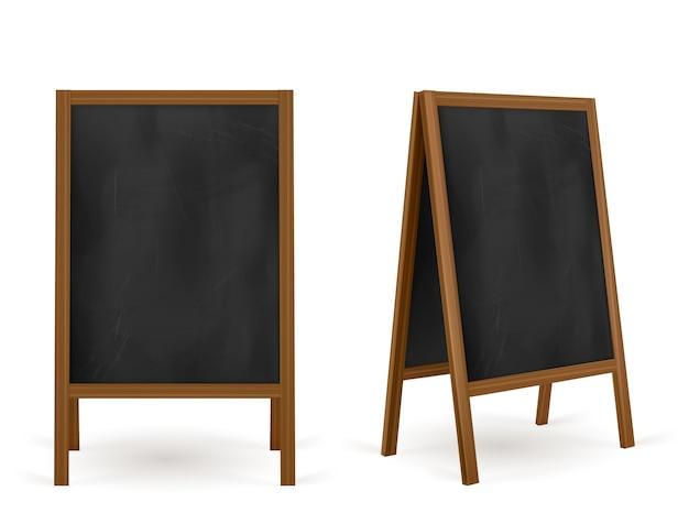 Panneau de chaussée, menu de café de tableau de craie de rue, stand extérieur de publicité. information et promotion hors panneau d'affichage. tableau isolé ou chevalet, bannière promo, illustration vectorielle 3d réaliste