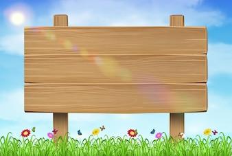 Panneau de bois signe sur l'herbe