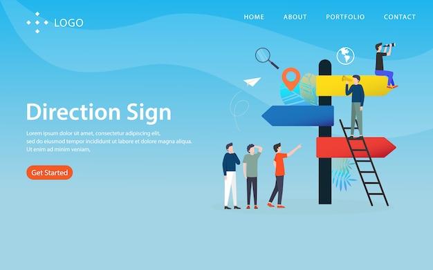 Panneau de direction, modèle de site web, en couches, facile à modifier et à personnaliser, concept d'illustration