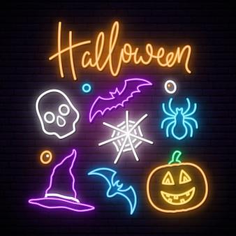 Panneau d'enseigne au néon joyeux halloween