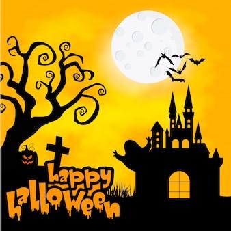 Panneau de fête de halloween avec des citrouilles, un chapeau, un pot et un vieux balai devant le château effrayant