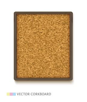 Panneau de liège avec cadre en bois foncé. panneau de liège vertical isolé sur fond blanc.